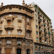 Baroque architecture in the streets of Savona, Liguria region, Italy.