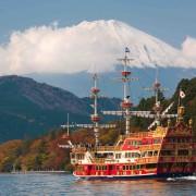 View to Fuji Mountain and Ashi Lake at Hakone region