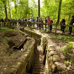 First World War Centenary Battlefield Tours Programme. . .The students (and teachers) seen during a tour of rebuilt trenches in their original location at Thiepval Woods in the Somme region of France.  Picture by Ben Gurr www.centenarybattlefieldtours.org First World War Centenary Battlefield Tours Programme