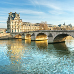 Louvre Museum and Pont Royal, Paris - France